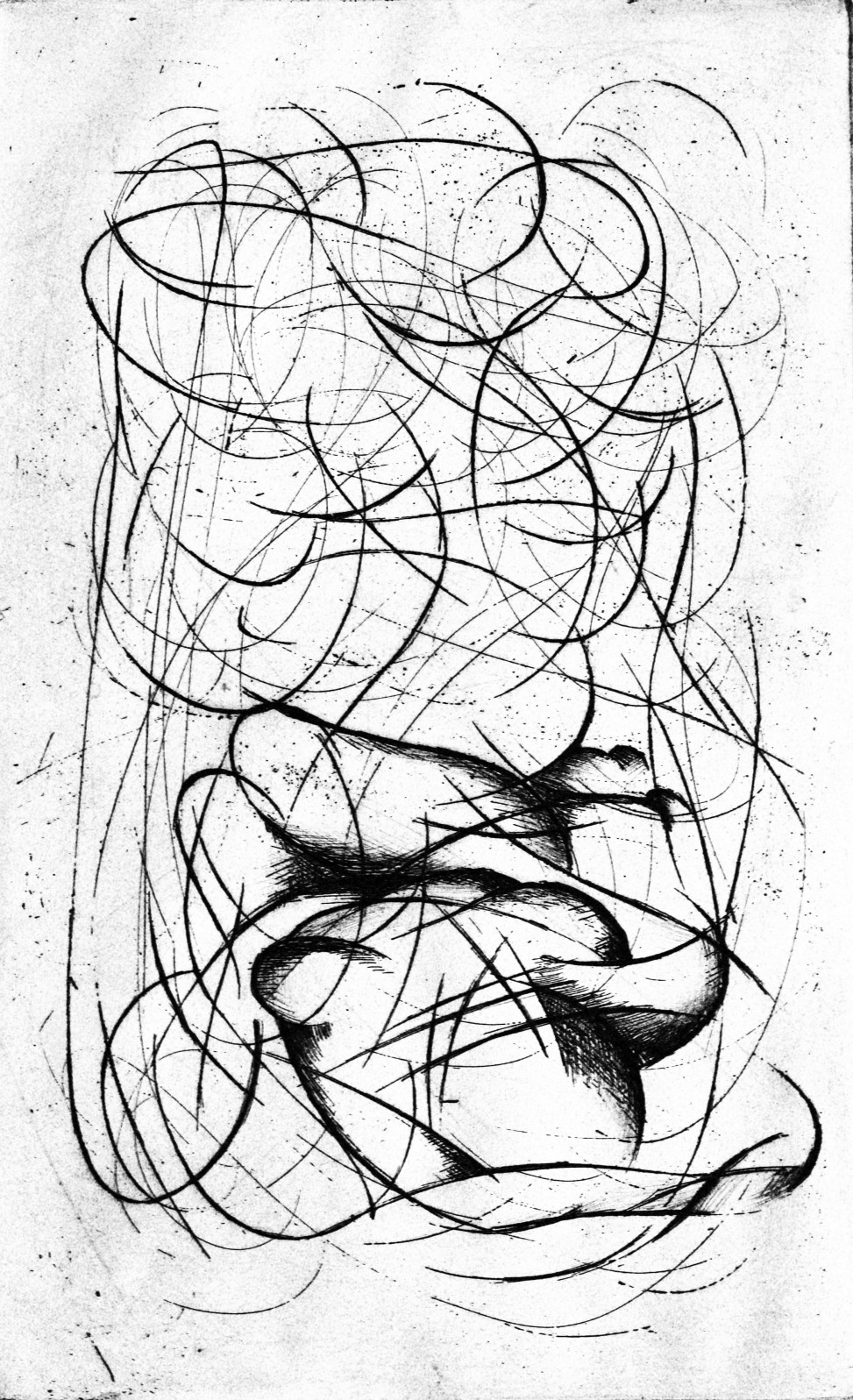2015, Naked woman, Etching on cotton paper