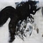 Corpographia #3, bitume e smalti su tela, 2014