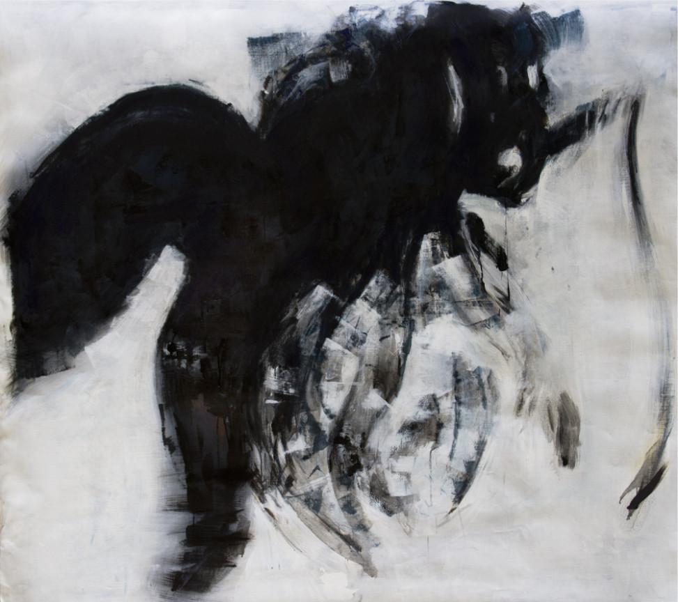 2014, Corpographia #3, bitumen and oil on canvas