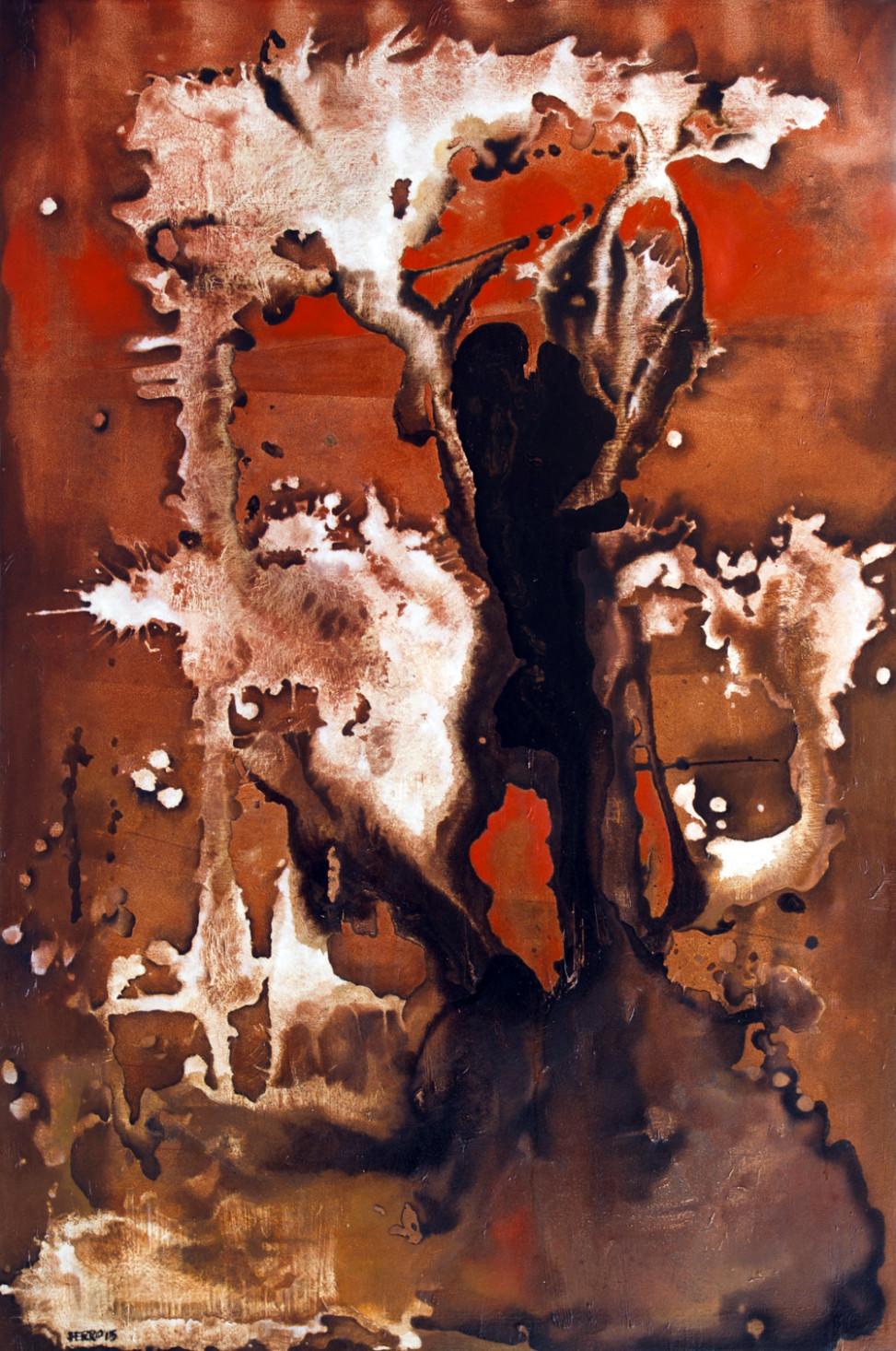 Senza titolo, bitume e olio su tela, 2015