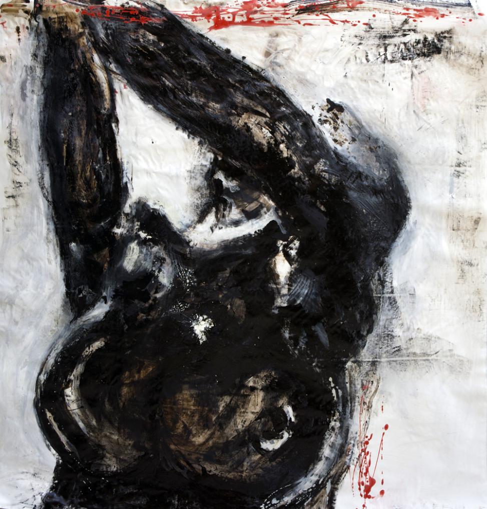 2014, Corpographia #1, bitumen and oil on canvas