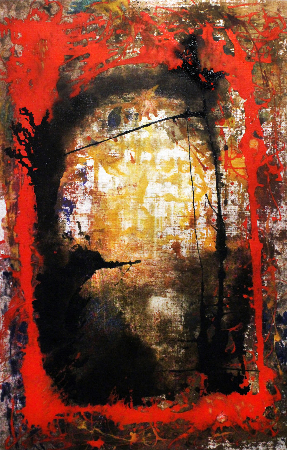 2015, Red Cage, mixed technique on canvas